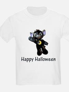 Happy Halloween Moon Kitten Kids T-Shirt