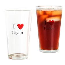 i love taylor heart Drinking Glass