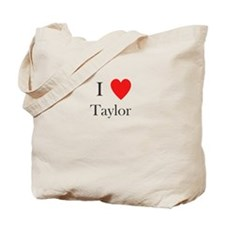 i love taylor heart Tote Bag