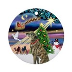 Xmas Magic & Brindle Greyhound Ornament (Round)