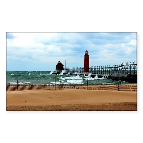 Lake Michigan Beach Sticker (Rectangle)