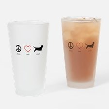 Peace, Love, Drool Drinking Glass