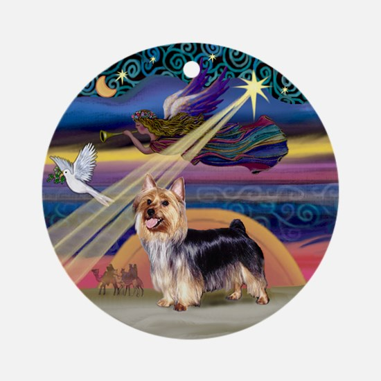 Xmas Star & Silky Terrier Ornament (Round)
