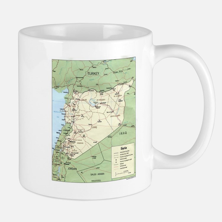 Syria Iraq Turkey Jordan map Mug