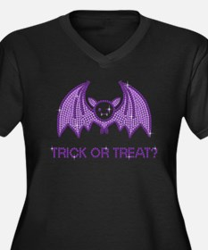 Cute Halloween Rhinestone Bat Plus Size T-Shirt Pl