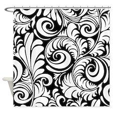 Black & White Floral Swirls Shower Curtain