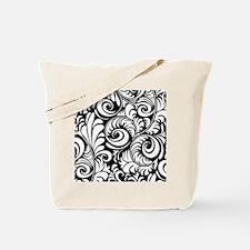 Black & White Floral Swirls Tote Bag