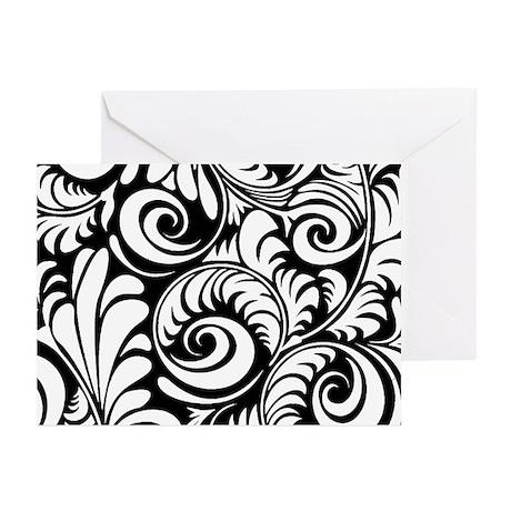 Black & White Floral Swirls Greeting Cards (Pk of