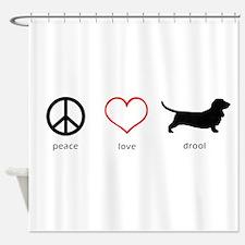Peace, Love, Drool Shower Curtain