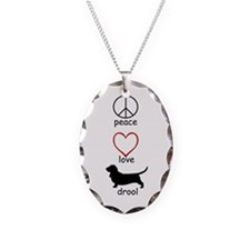 Peace, Love, Drool Necklace Oval Charm