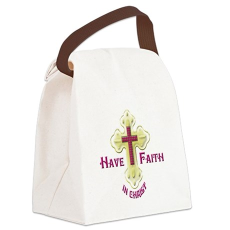 Have Faith in Christ gold cross Canvas Lunch Bag