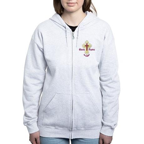 Have Faith in Christ gold cross Women's Zip Hoodie