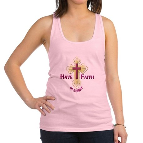Have Faith in Christ gold cross Racerback Tank Top