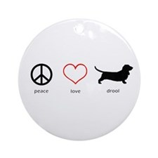 Peace, Love, Drool Ornament (Round)
