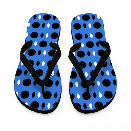 Cool Blue Black Perception Designer Flip Flops