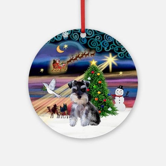 Xmas Magic & Mini Schnauzer Pup Ornament (Round)