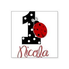 1 Ladybug - NICOLA - Custom Name Square Sticker 3