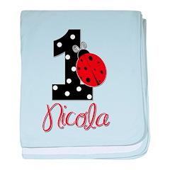 1 Ladybug - NICOLA - Custom Name baby blanket