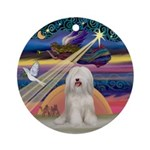 Xmas Star Tibetan Spaniel (W) Ornament (Round)