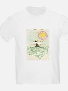 vintage grunge black cat on notebook paper T-Shirt
