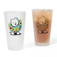 Westie Wreath Drinking Glass