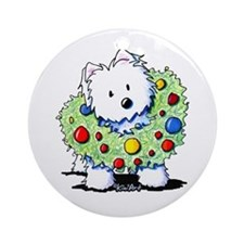 Westie Wreath Ornament (Round)