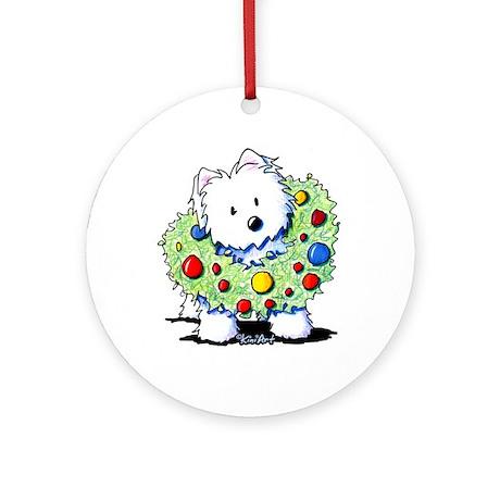 Westie Wreath Ornament (Round)