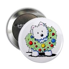 "Westie Wreath 2.25"" Button"