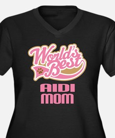 Aidi Mom Women's Plus Size V-Neck Dark T-Shirt