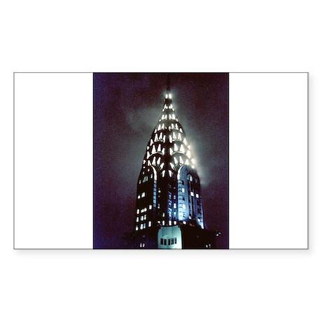 Chrysler Building: Night Sticker (Rectangle 50 pk)