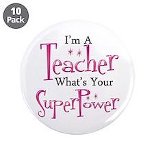 """Super Teacher 3.5"""" Button (10 pack)"""