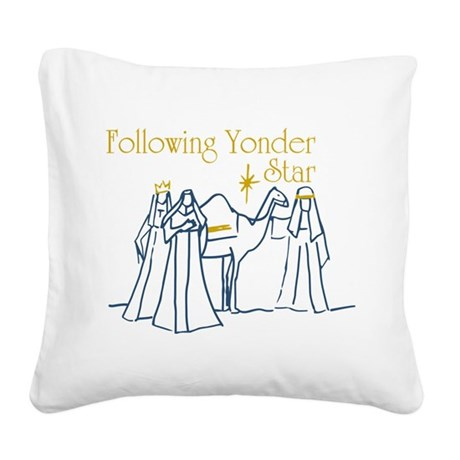 Following Yonder Star Square Canvas Pillow
