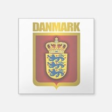 "Denmark (Gold Label).png Square Sticker 3"" x 3"""
