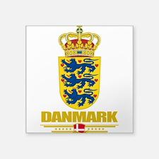 "Denmark COA(Flag 10).png Square Sticker 3"" x 3"""