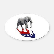 Republican Elephant Shadow Oval Car Magnet