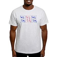 mfm (pink & blue) Ash Grey T-Shirt
