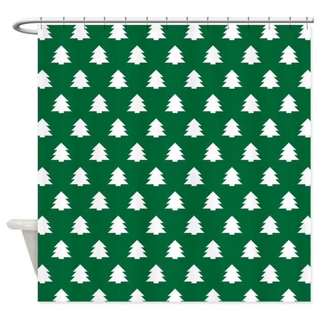 Hunter Green Kitchen Curtains: Hunter Green Christmas Pine Tree Shower Curtain By