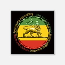 "Rasta Reggae Lion of Judah Square Sticker 3"""