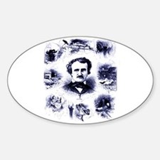 Poe and His Works Sticker (Oval)