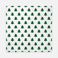 Hunter Green Christmas Pine Tree Queen Duvet