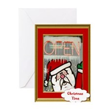 Santas open for Business Greeting Card