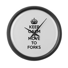 Keep calm and move to forks Large Wall Clock