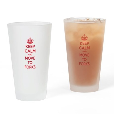 Keep calm and move to forks Drinking Glass