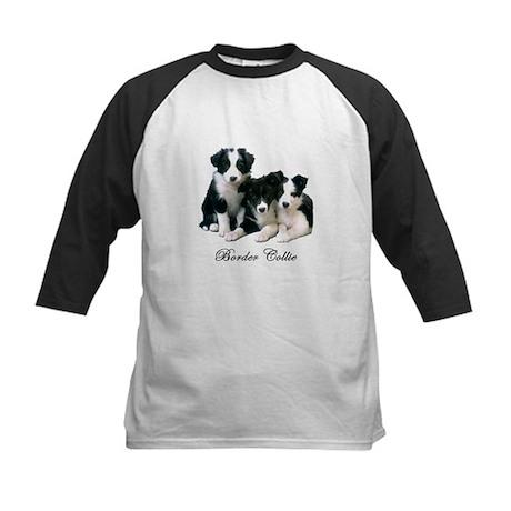 Border Collie Puppies Kids Baseball Jersey