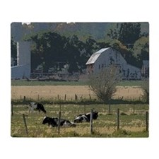 Cows in country Throw Blanket