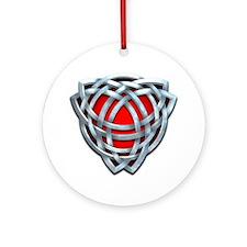 Naumadd's Silver Red Triquetra Ornament (Round)