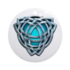 Naumadd's Silver Teal Triquetra Ornament (Round)