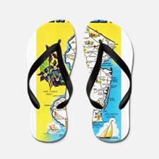 New Jersey Map Greetings Flip Flops
