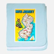 New Jersey Map Greetings baby blanket