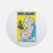 New Jersey Map Greetings Ornament (Round)
